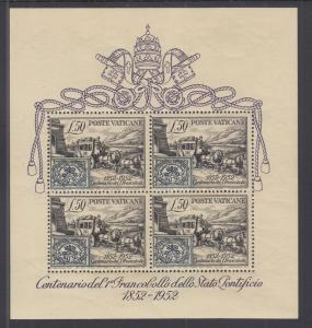 Vatican City Sc 155a MNH. 1952 50l Stagecoach Souvenir Sheet, fresh, bright