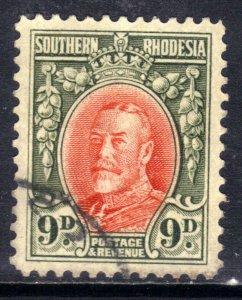 Southern Rhodesia 1931 - 37  KGV 9d used SG 21b Perfs 12 ( D110 )