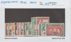 Nyasaland 97-111 VF MNH