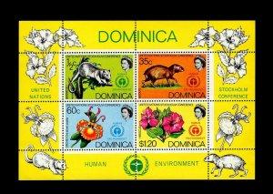 DOMINICA - 1972 - QE II - MANICOU - AGOUTI - ORCHID - HIBISCUS - U N + MNH S/S!