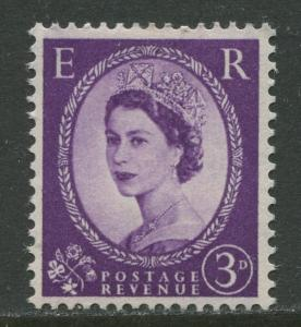 Great Britain -Scott 358c - QEII -Graphite Lines-1958 -MVLH- Single 3p Stamp