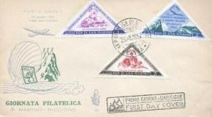 SAN MARINO C82-4 RICCIONE TRIANGLES 1952 FDC