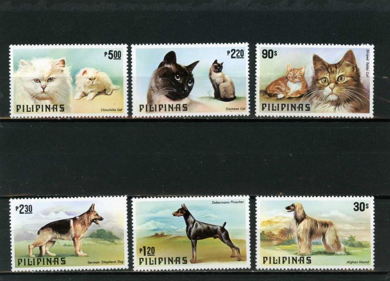 PHILIPPINES 1979 Sc#1425-1430 FAUNA/CATS & DOG SET OF 6 STAMPS MNH