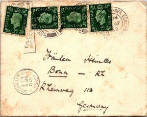 Southend on Sea UK > Bonn Germany 1938 4 stamps  lots of cancels