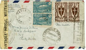 Cameroun 1944 Yaounde cancel on airmail cover to the U.S., censored