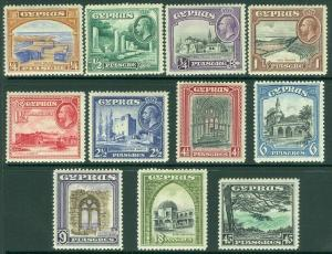 EDW1949SELL : CYPRUS 1934 Scott #125-35 Very Fine, Mint OG LH Catalog $217.00.