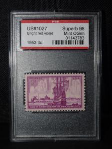 US #1027 BRIGHT RED VIOLET 1953 3¢ SUPERB 98 MINT OG NH SLAB SLB304