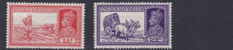 INDIA  1937 - 40   SG  251 - 252    VARIOUS VALUES  TO 2A 6P     MH