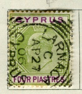 CYPRUS; 1904 early Ed VII issue fine used 4Pi. value