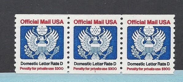 United States, O139, Official Plate Strip of 3 Plt # 1, **MNH**