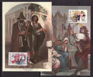 Faroe Is., Scott cat. 125-126. Europa-Music Year issue. 2 Max. Cards..