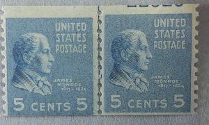 Sc845 Pres J. Monroe line pair F.  L /H with part of plate number showing
