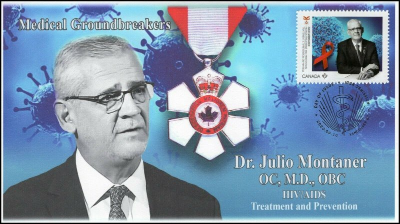 CA20-032, 2020, Medical Groundbreakers, Dr Julio Montaner, Pictorial Postmark,