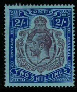 BERMUDA SG88b 1924 2/= PURPLE & BRIGHT BLUEBREAK IN CROWN & SCROLL MTD MINT