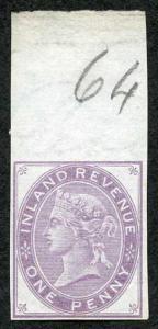 1d Postal Fiscal Marginal Imprimatur Plate 64 Ex Lord Crawford