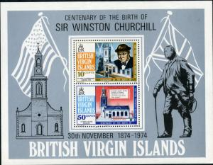 VIRGIN ISLANDS 279a MNH S/S SCV $0.90 BIN $0.50 CHURCHILL