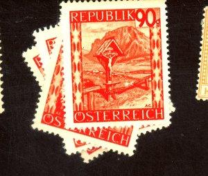 AUSTRIA #508-11 MINT VF OG NH ORANCE OFFSER ON GUM Cat $23