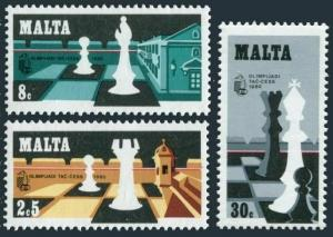 Malta 577-579,MNH.Michel 621-623. Chess Olympiad,1980.