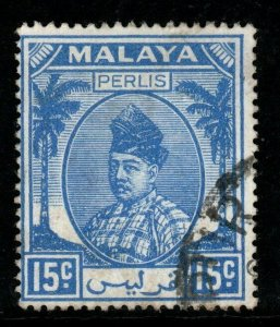 MALAYA PERLIS SG17 1951 15c ULTRAMARINE FINE USED