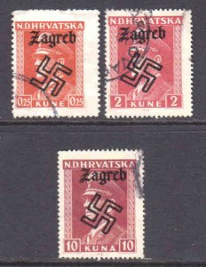 CROATIA UNLISTED WW2 ZAGREB OVERPRINTS x3 DIFFERENT CDS F/VF SOUND #2