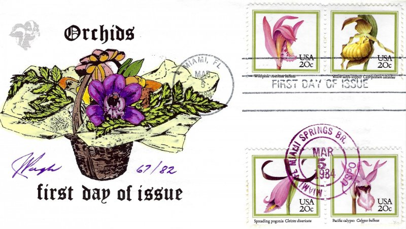 Beautiful Pugh Designed/Painted Orchids  FDC.. 67 of 82 created!