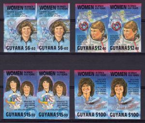 Guyana 1989 Women in Space ovpt.ROTARY in Silver Set (4) in PAIRS IMPERFORATED