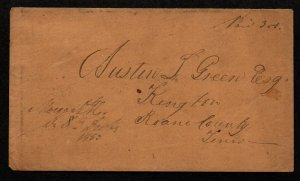 $Tennessee Stampless cover, Morgan CH M/S cancel Dec, 1850-no contents
