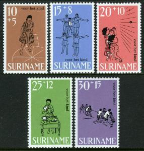 Surinam B147-B151, MH. Child welfare. Children's games.Hopscotch,Handball, 1968