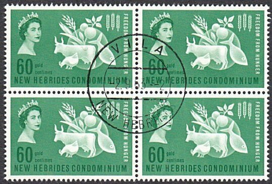 NEW HEBRIDES 1963 Freedom From Hunger block of 4 fine used..................A259