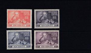 NEW HEBRIDIES  1949  UNIVERSAL POSTAL UNION SET OF FOUR  M H