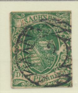Saxony (German State) Stamp Scott #2, Used, Four Margins - Free U.S. Shipping...
