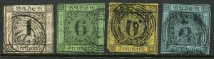 GR Lot 10116 GermanState BADEN 1853-8 5-1Kr 6-3Kr 7-6Kr 8-3Kr Stamps