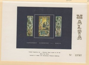 London International Philatelic Expo 1980 Malta Mini Tapestries Souvenir Sheet