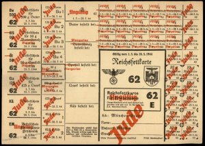 3rd Reich Germany 1944 Munich Butter and Lard Ration Card for Jewish Perso 96260