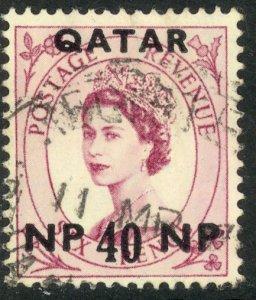 QATAR 1957 QE2 40np on 6d Wilding Portrait Issue Sc 9 VFU