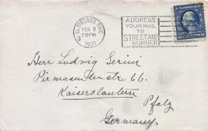 U. S., Scott #504, 5c Washington, Used on 1921 Cover from Cleveland to Germany
