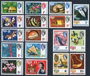 Fiji 240-256,MNH.Michel 212-228. QE II,1968.Orchid,Shell,Birds,Moth,Fish,Arms.