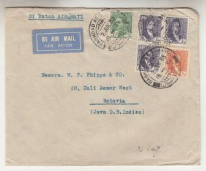 IRAQ, 1935 KLM Airmail cover, Baghdad to Neth. East Indies, 3f., 20f., 40f.(3)