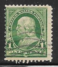 US # 279 1c Franklin, yellow green,deep green (U) CV $0.50