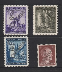 Laibach (Slovenia) x 4 MH from 1945 Yugoslav Occupation