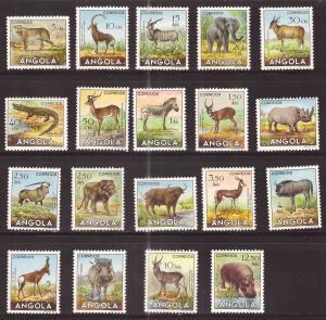 Angola Scott 362-380  MH* short set 19/20 Animals