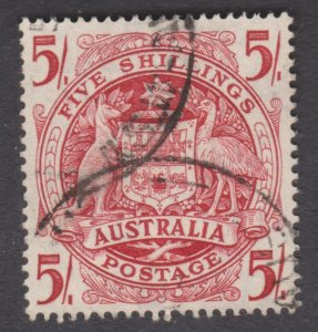 Australia Arms 1951 5s Thin paper variety SG 224a (ab) used Cat. 75 pounds