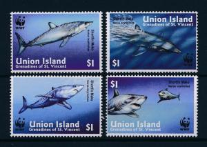 [53888] Union Islands Grenadines of St. Vincent 2002 Marine life WWF Sharks MNH