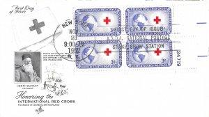 #1016, 3c International Red Cross, Art Craft, plate block of 4