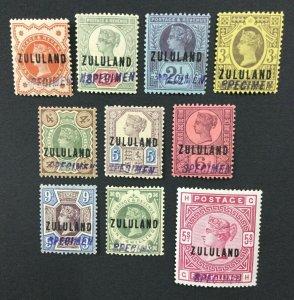 MOMEN: ZULULAND SG #1s-11s SPECIMEN 1888 MINT OG 8NH/2H LOT #191796-699