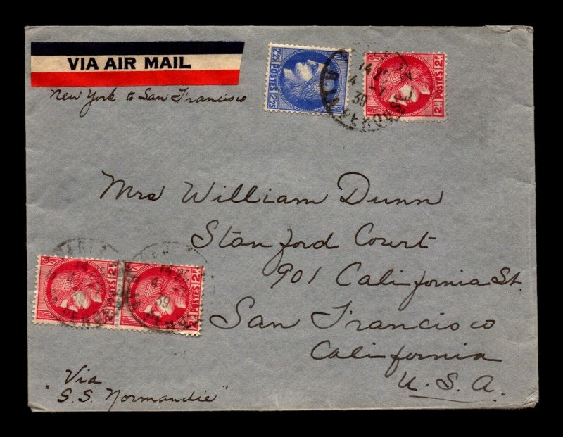 France SC# 336 & 336 Combo Cover to USA / SS Normandie - L11260