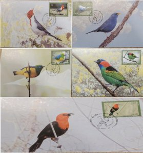 A) 2009, BRAZIL, LUSH BIRDS, FDC, CRESTED CARDENILLA, COCK OF THE ROCKS GUAYANES