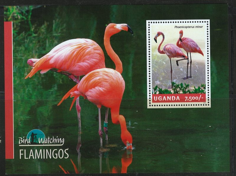 Uganda Scott 2122 MNH! Flamingos! Souv. Sheet!