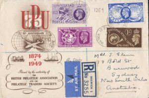 GB210) Great Britain 1949 BPA/PTS airmail registered FDC to Sydney