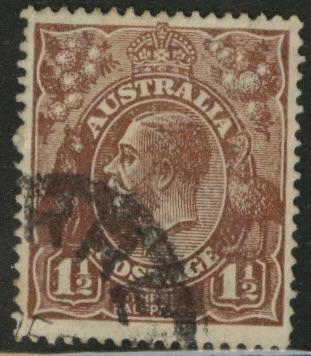 Australia Scott 63a used 1.5p red brn KGV wmk 11 1919
